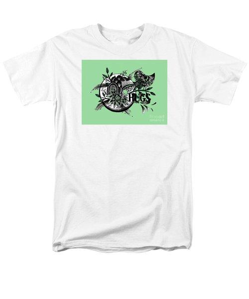 Pen And Ink Drawing Hugs Green Art Men's T-Shirt  (Regular Fit) by Saribelle Rodriguez