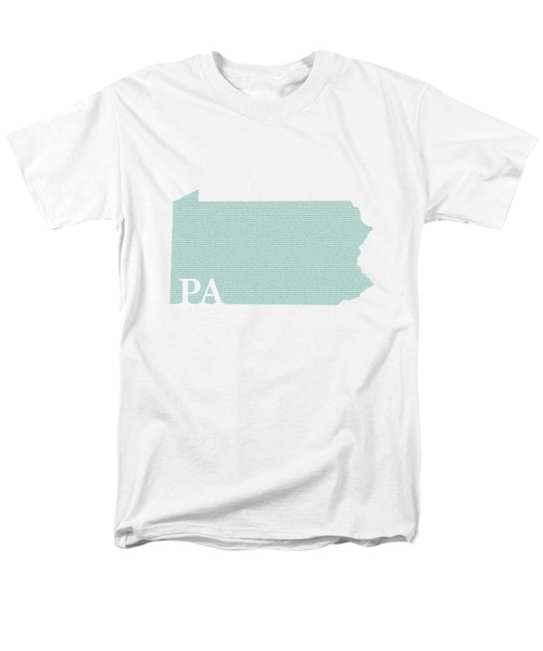 Pennsylvania State Map With Text Of Constitution Men's T-Shirt  (Regular Fit) by Design Turnpike