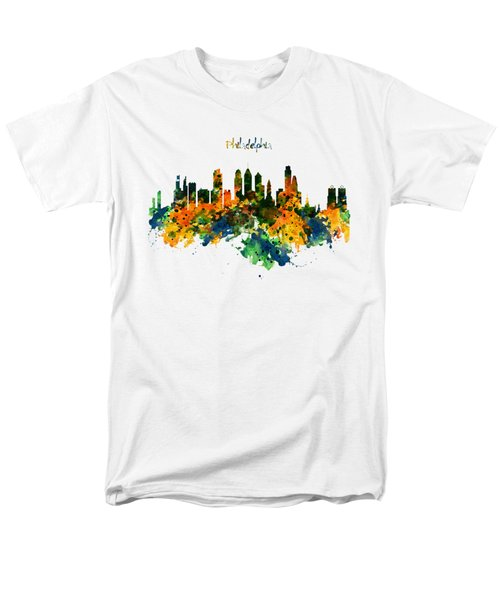 Philadelphia Watercolor Skyline Men's T-Shirt  (Regular Fit) by Marian Voicu