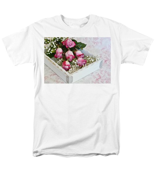 Pink And White Roses In White Box Men's T-Shirt  (Regular Fit) by Diane Alexander