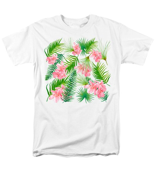 Pink Frangipani And Fern Leaves Men's T-Shirt  (Regular Fit) by Jan Matson