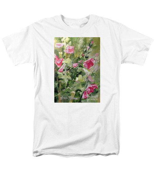 Pink Hollyhocks Men's T-Shirt  (Regular Fit) by Laurie Rohner