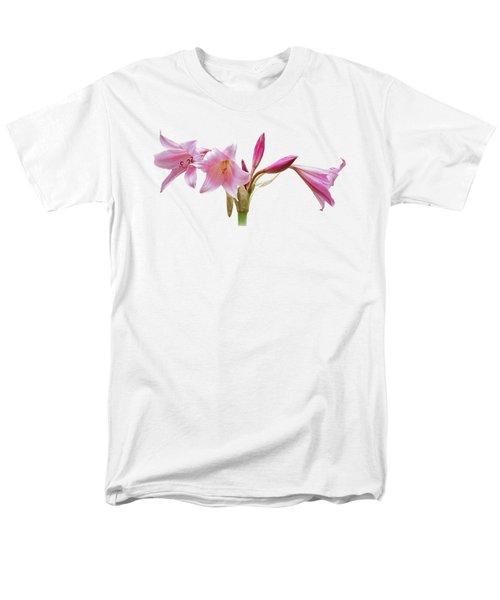 Pink Lilies On Black Men's T-Shirt  (Regular Fit) by Gill Billington