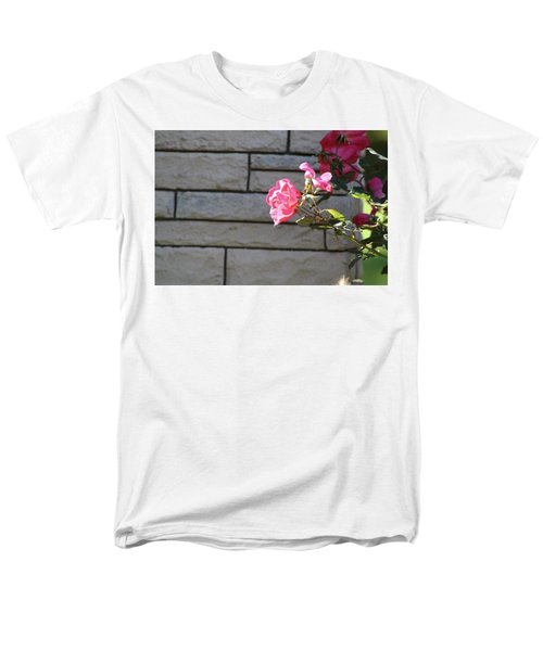 Pink Rose Against Grey Bricks Men's T-Shirt  (Regular Fit) by Michele Wilson