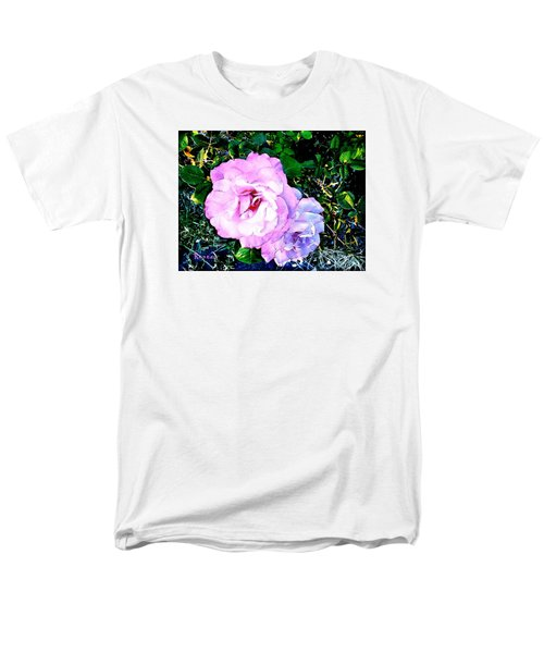 Men's T-Shirt  (Regular Fit) featuring the photograph Pink - White Roses  2 by Sadie Reneau