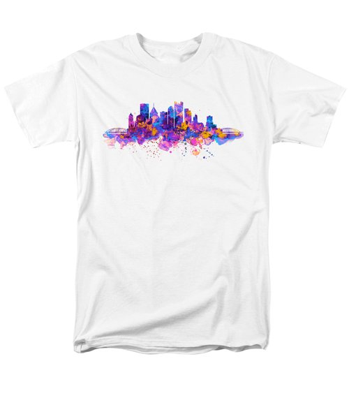 Pittsburgh Skyline Men's T-Shirt  (Regular Fit) by Marian Voicu