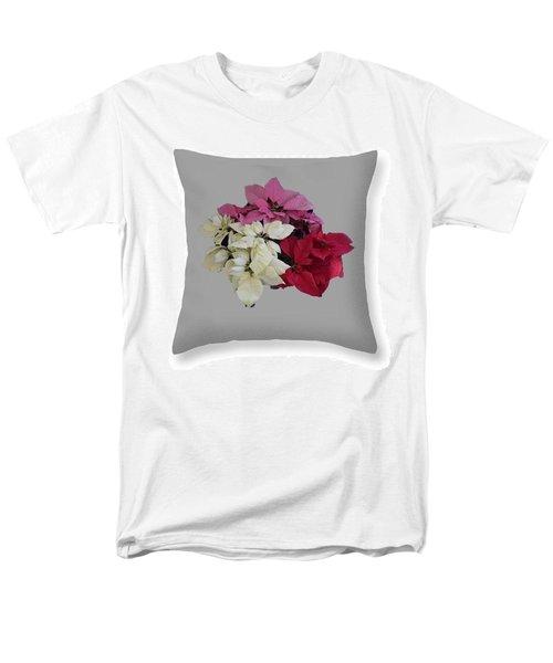Men's T-Shirt  (Regular Fit) featuring the photograph Poinsettias Pillow Grey Background  by R  Allen Swezey