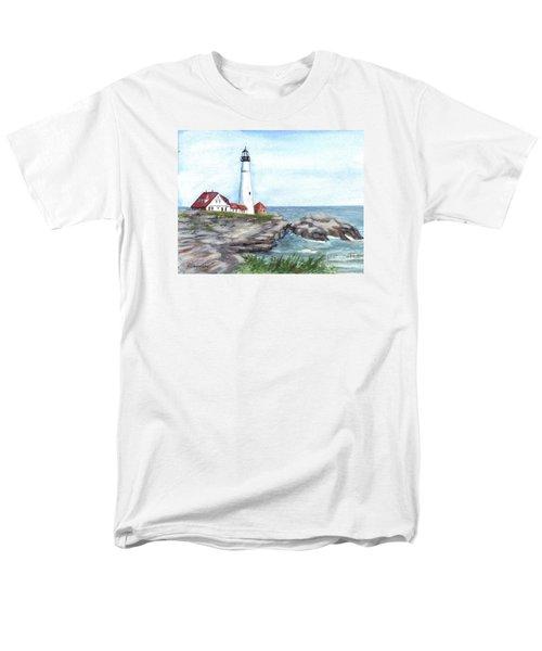 Portland Head Lighthouse Maine Usa Men's T-Shirt  (Regular Fit) by Carol Wisniewski