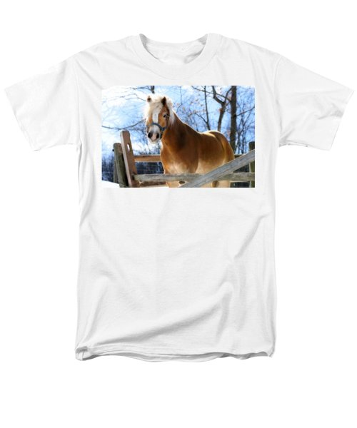 Men's T-Shirt  (Regular Fit) featuring the photograph Portrait Of A Haflinger - Niko In Winter by Angela Rath