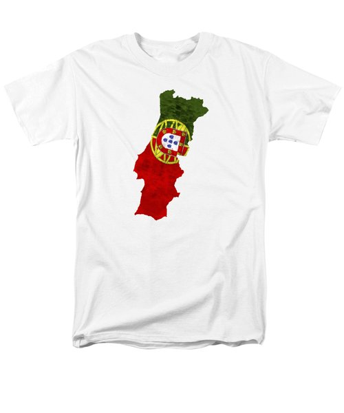 Portugal Map Art With Flag Design Men's T-Shirt  (Regular Fit) by World Art Prints And Designs