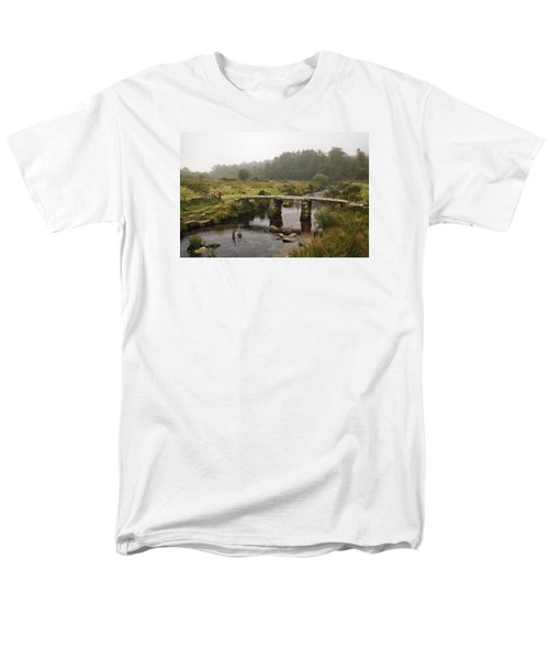 Men's T-Shirt  (Regular Fit) featuring the photograph Postbridge Clapper Bridge In Dartmoor  by Shirley Mitchell