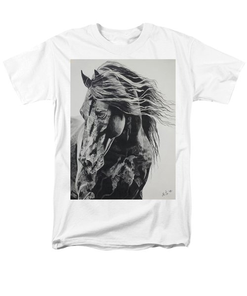 Men's T-Shirt  (Regular Fit) featuring the drawing Power Of Horse by Melita Safran