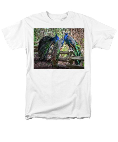 Proud As Three Peacocks Men's T-Shirt  (Regular Fit) by Keith Boone