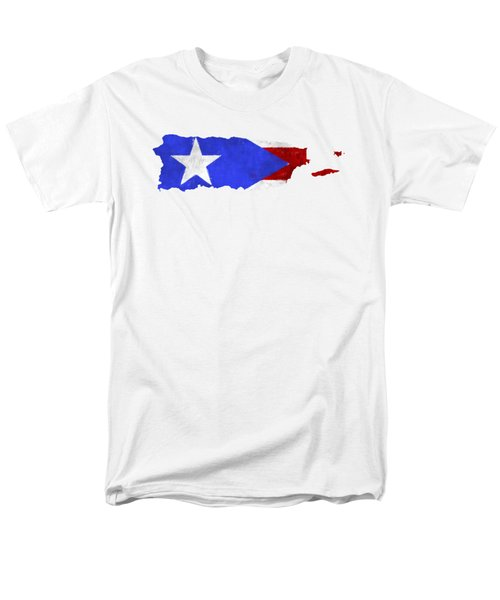 Puerto Rico Map Art With Flag Design Men's T-Shirt  (Regular Fit) by World Art Prints And Designs