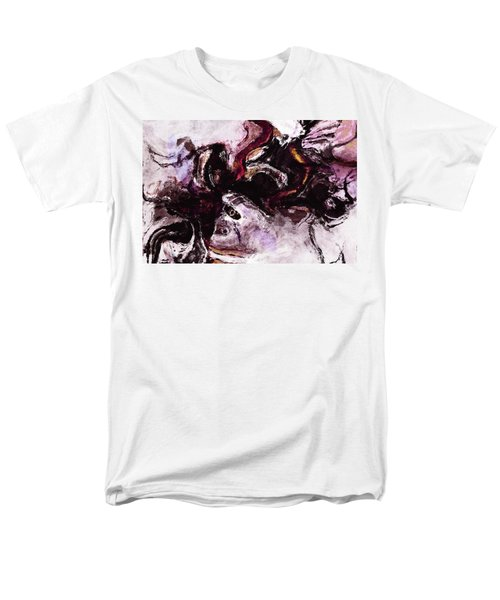 Men's T-Shirt  (Regular Fit) featuring the painting Purple Abstract Painting / Surrealist Art by Ayse Deniz
