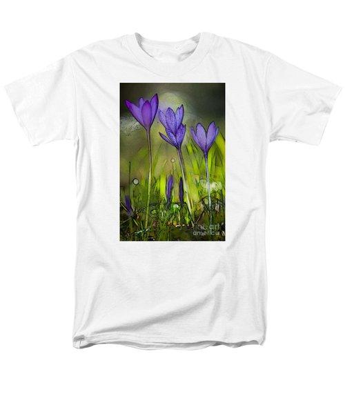 Men's T-Shirt  (Regular Fit) featuring the photograph Purple Crocus Flowers by Jean Bernard Roussilhe