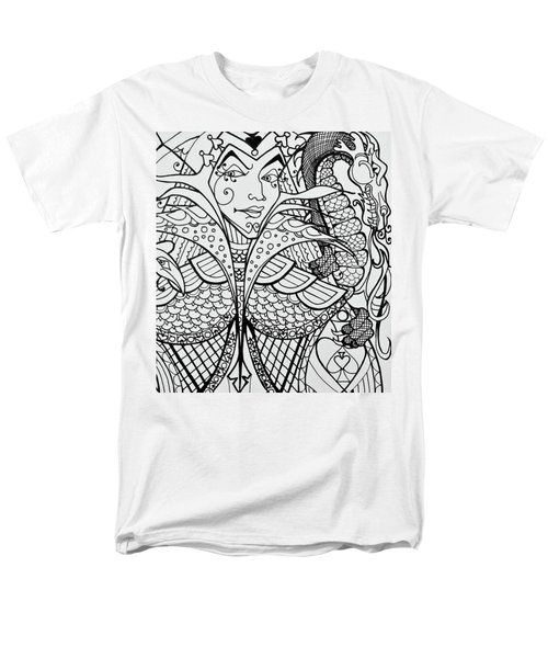 Men's T-Shirt  (Regular Fit) featuring the drawing Queen Of Spades Close Up With Dragon by Jani Freimann
