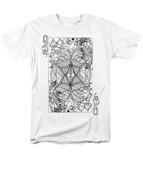 Men's T-Shirt  (Regular Fit) featuring the drawing Queen Of Spades  by Jani Freimann