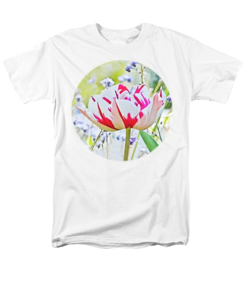 Red And White Tulip Men's T-Shirt  (Regular Fit) by Terri Waters