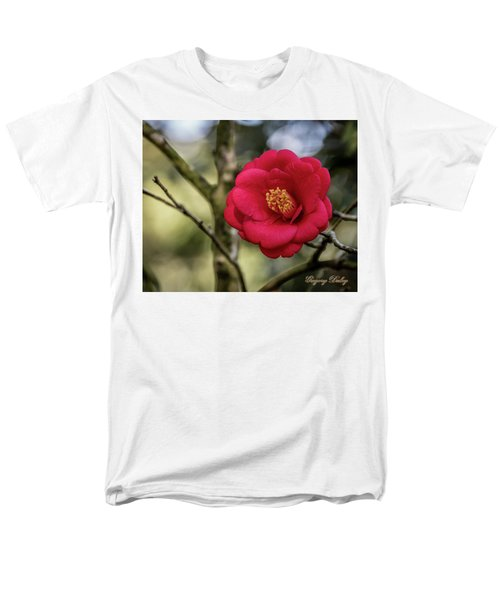 Men's T-Shirt  (Regular Fit) featuring the photograph Red Camelia 05 by Gregory Daley  PPSA