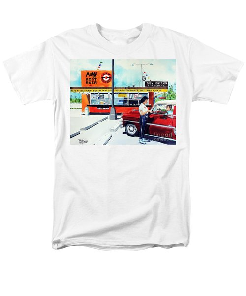 Men's T-Shirt  (Regular Fit) featuring the painting Red Car At The A And W by Tom Riggs