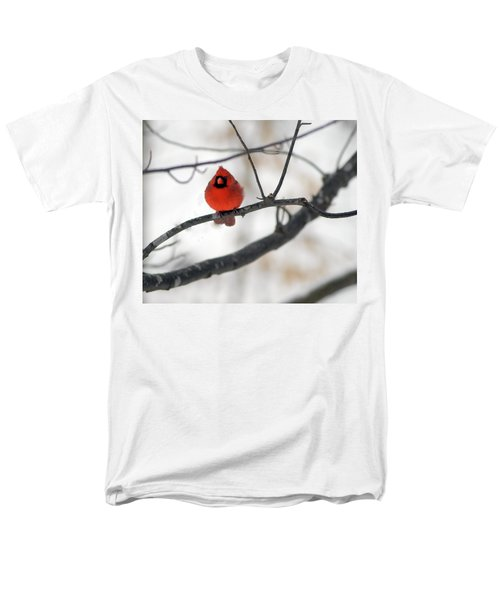 Men's T-Shirt  (Regular Fit) featuring the photograph Red Cardinal In Snow by Marie Hicks
