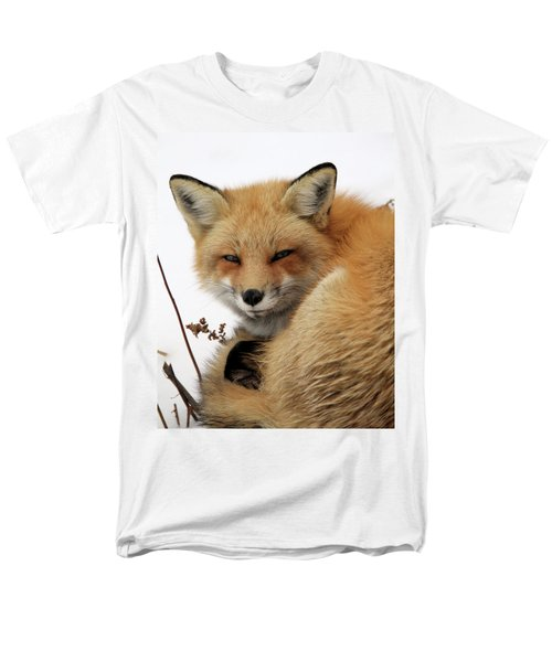 Men's T-Shirt  (Regular Fit) featuring the photograph Red Fox In Snow by Doris Potter