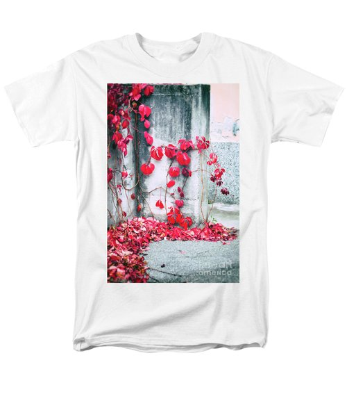 Men's T-Shirt  (Regular Fit) featuring the photograph Red Ivy Leaves by Silvia Ganora