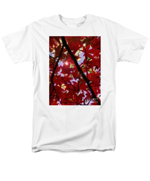 Men's T-Shirt  (Regular Fit) featuring the digital art Red Leaves In Light by Haleh Mahbod