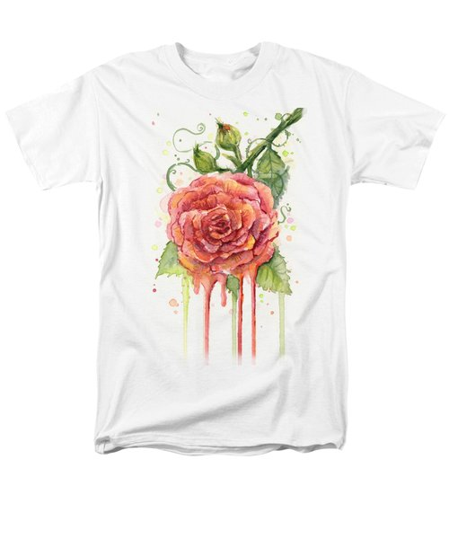 Red Rose Dripping Watercolor  Men's T-Shirt  (Regular Fit) by Olga Shvartsur