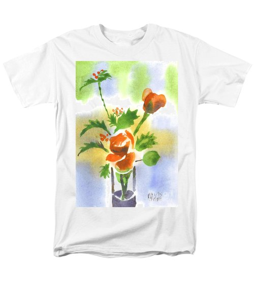 Red Roses With Holly Men's T-Shirt  (Regular Fit) by Kip DeVore