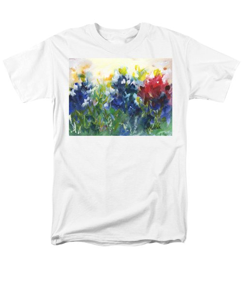Red White And Bluebonnets Watercolor Painting By Kmcelwaine Men's T-Shirt  (Regular Fit) by Kathleen McElwaine