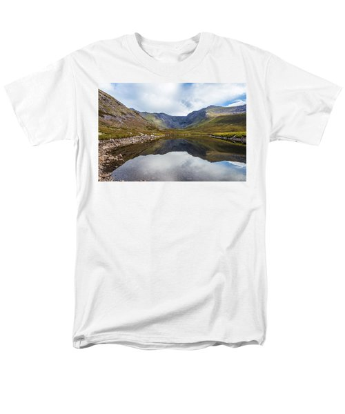 Men's T-Shirt  (Regular Fit) featuring the photograph Reflection Of Macgillycuddy's Reeks And Carrauntoohil In Lough E by Semmick Photo
