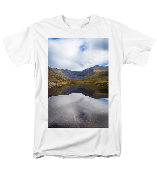Men's T-Shirt  (Regular Fit) featuring the photograph Reflections Of The Macgillycuddy's Reeks In Lough Eagher by Semmick Photo