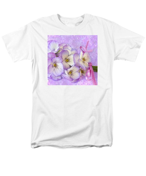 Ribboned Pansies  Men's T-Shirt  (Regular Fit) by Sandra Foster