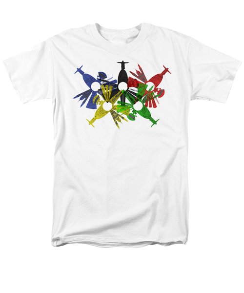 Rio De Janeiro Skyline In Various Colors Men's T-Shirt  (Regular Fit) by Michal Boubin