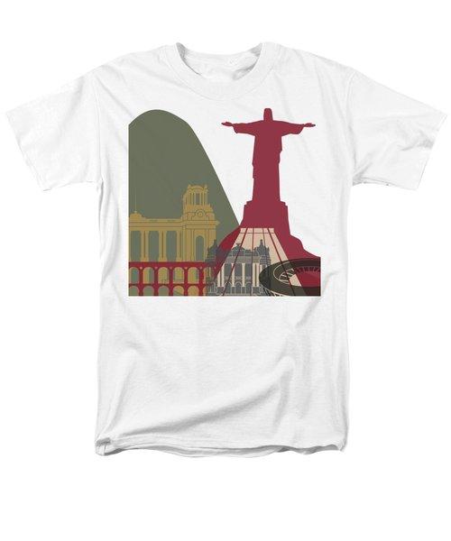 Rio De Janeiro Skyline Poster Men's T-Shirt  (Regular Fit) by Pablo Romero