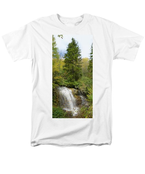 Men's T-Shirt  (Regular Fit) featuring the photograph Roadside Waterfall In North Carolina by Mike McGlothlen