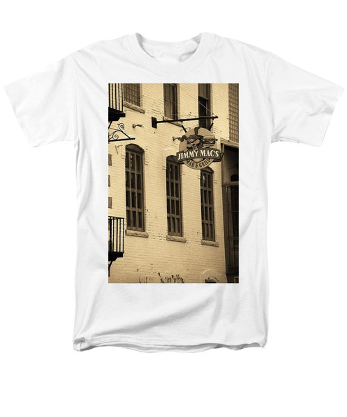 Men's T-Shirt  (Regular Fit) featuring the photograph Rochester, New York - Jimmy Mac's Bar 3 Sepia by Frank Romeo