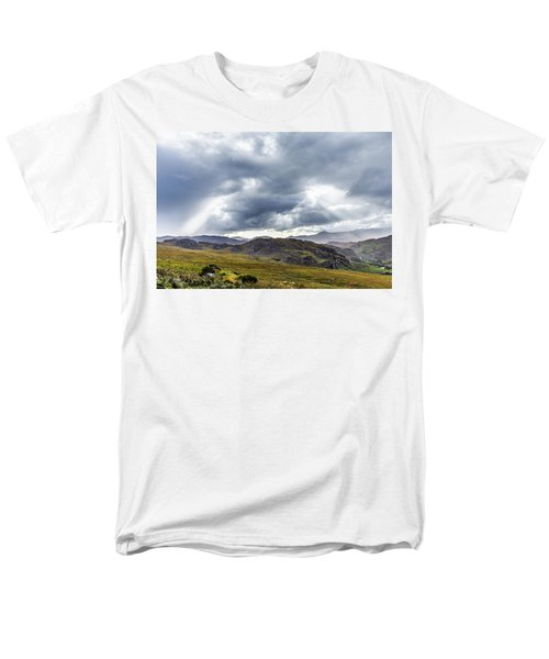 Men's T-Shirt  (Regular Fit) featuring the photograph Rock Formation Landscape With Clouds And Sun Rays In Ireland by Semmick Photo