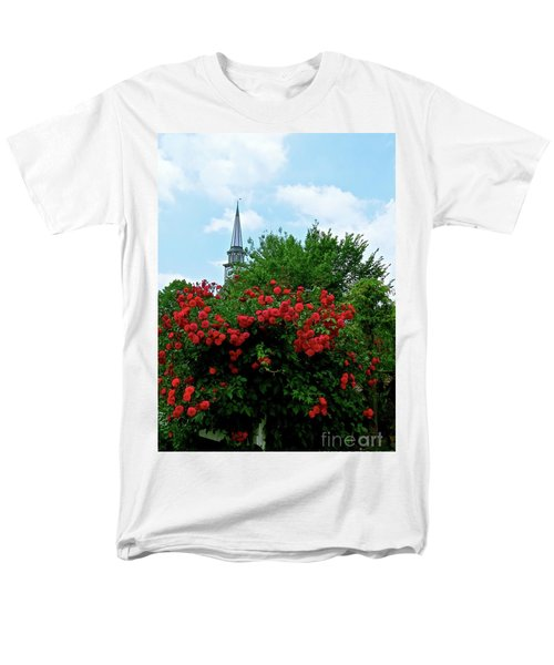 Men's T-Shirt  (Regular Fit) featuring the photograph Roses On The Fence In Mauricetown by Nancy Patterson