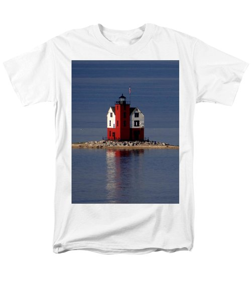 Round Island Lighthouse In The Morning Men's T-Shirt  (Regular Fit) by Keith Stokes