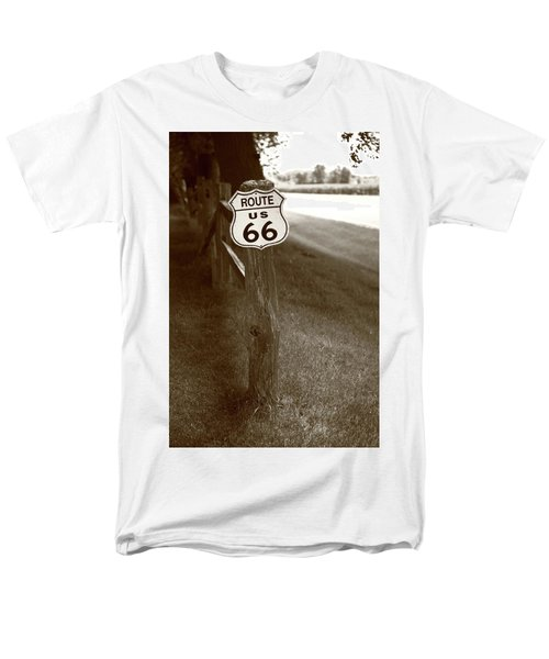 Men's T-Shirt  (Regular Fit) featuring the photograph Route 66 Shield And Fence Sepia Post by Frank Romeo