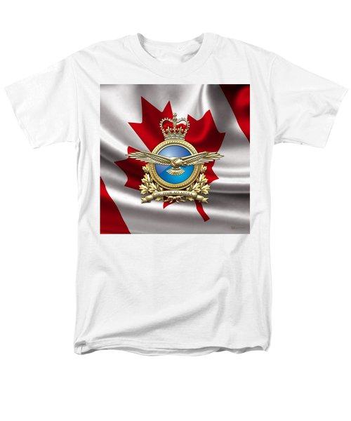 Royal Canadian Air Force Badge Over Waving Flag Men's T-Shirt  (Regular Fit) by Serge Averbukh