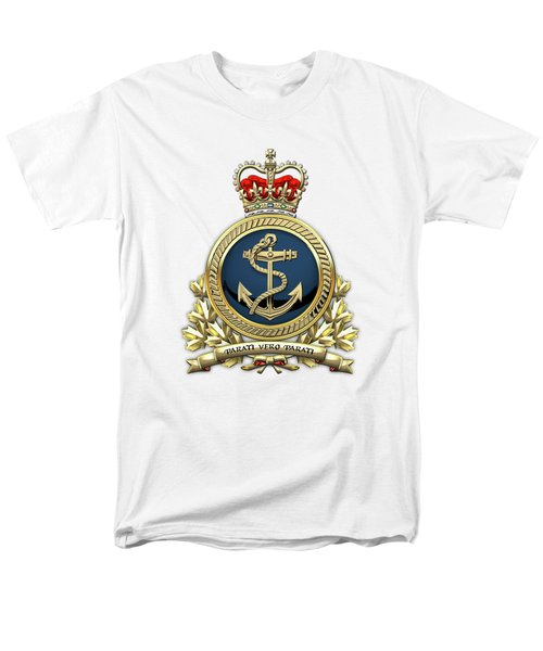 Men's T-Shirt  (Regular Fit) featuring the digital art Royal Canadian Navy  -  R C N  Badge Over White Leather by Serge Averbukh