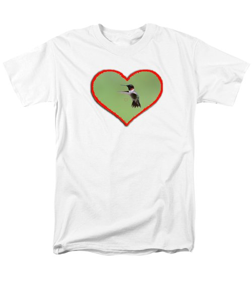 Ruby-throated Hummingbird In Heart Men's T-Shirt  (Regular Fit) by Dan Friend