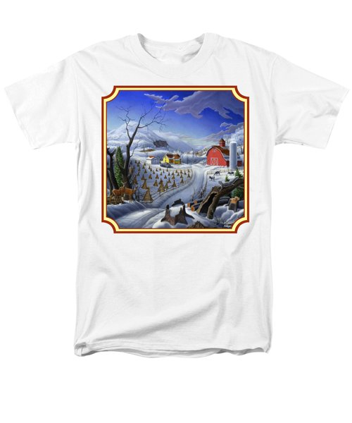 Rural Winter Country Farm Life Landscape - Square Format Men's T-Shirt  (Regular Fit) by Walt Curlee