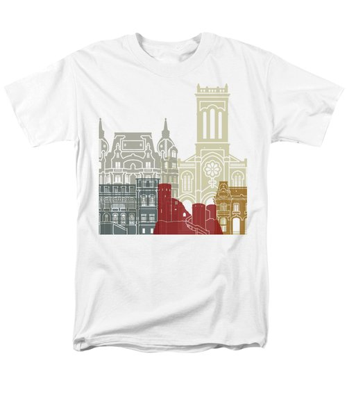 Saint Etienne Skyline Poster Men's T-Shirt  (Regular Fit) by Pablo Romero