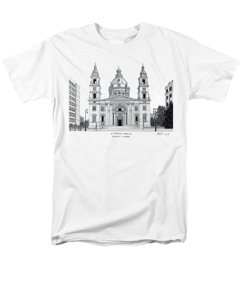 Men's T-Shirt  (Regular Fit) featuring the drawing Saint Stephens Basilica by Frederic Kohli