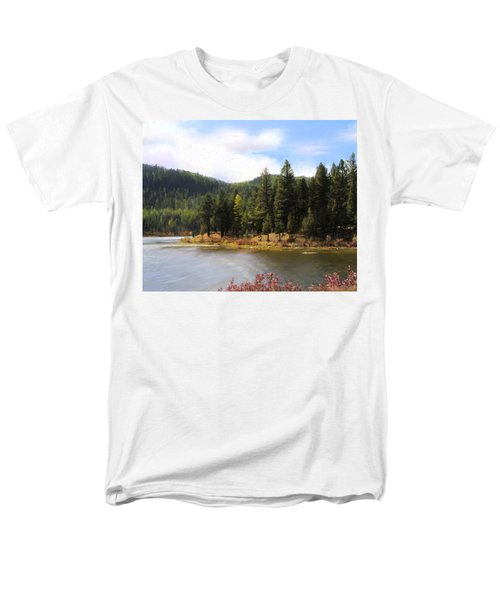 Men's T-Shirt  (Regular Fit) featuring the painting Salmon Lake Montana by Susan Kinney